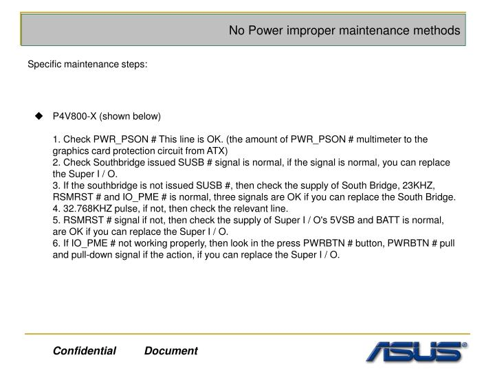 No Power improper maintenance methods