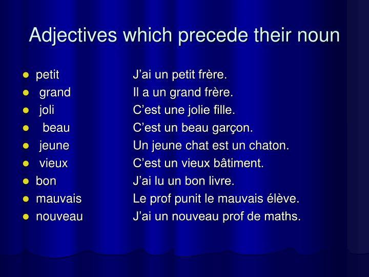 Adjectives which precede their noun