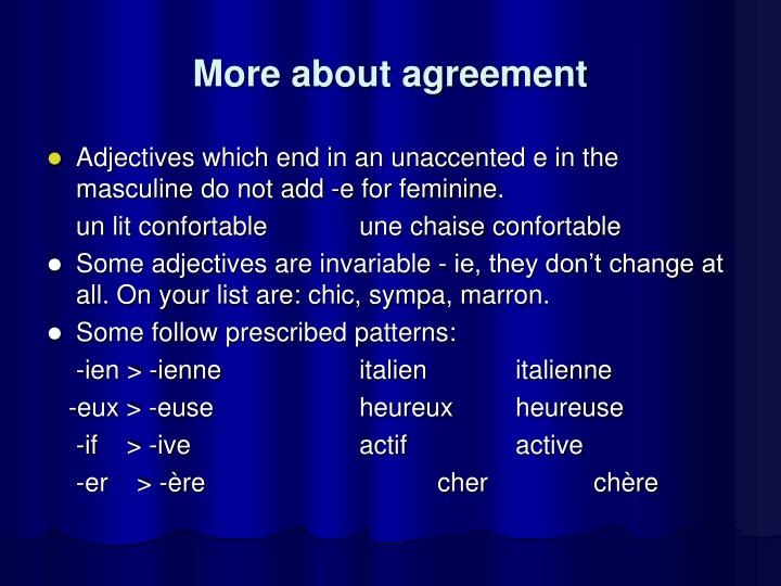 More about agreement