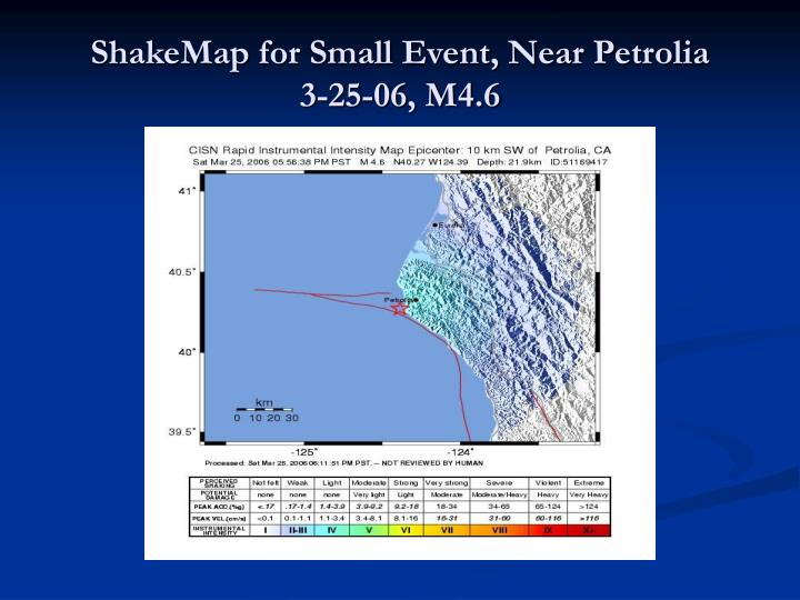 ShakeMap for Small Event, Near Petrolia