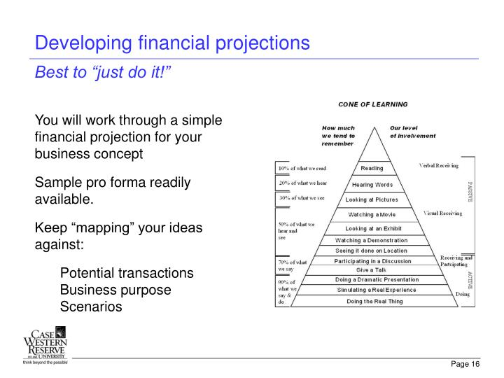 Developing financial projections