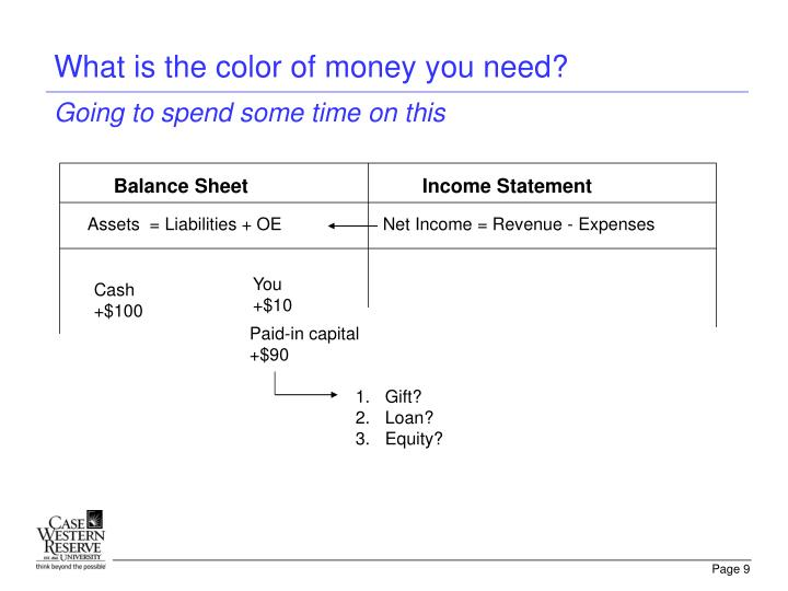 What is the color of money you need?