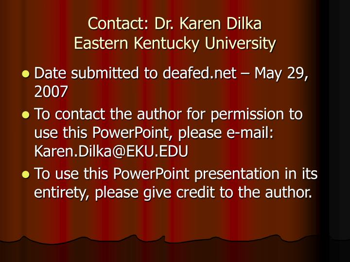 contact dr karen dilka eastern kentucky university