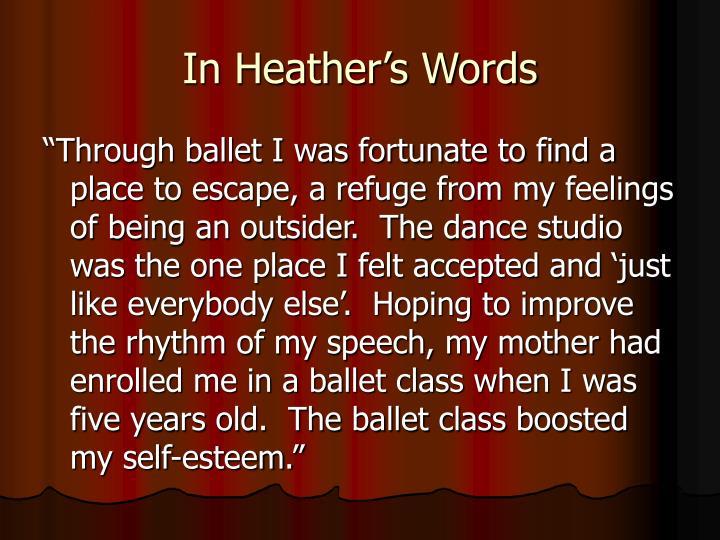 In Heather's Words