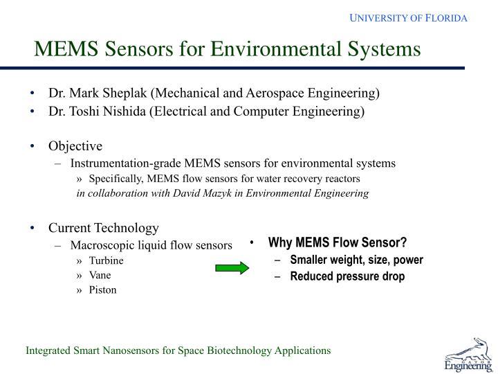 MEMS Sensors for Environmental Systems
