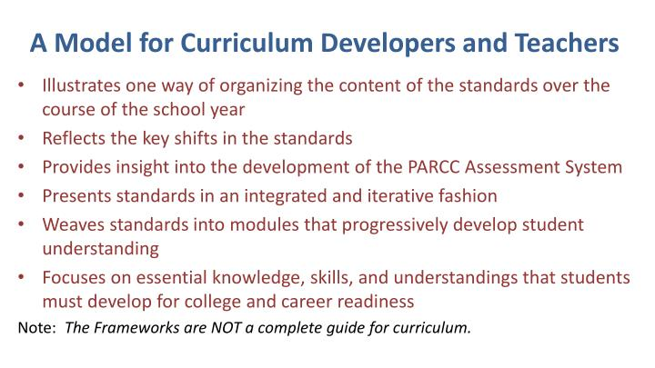 A Model for Curriculum Developers and Teachers