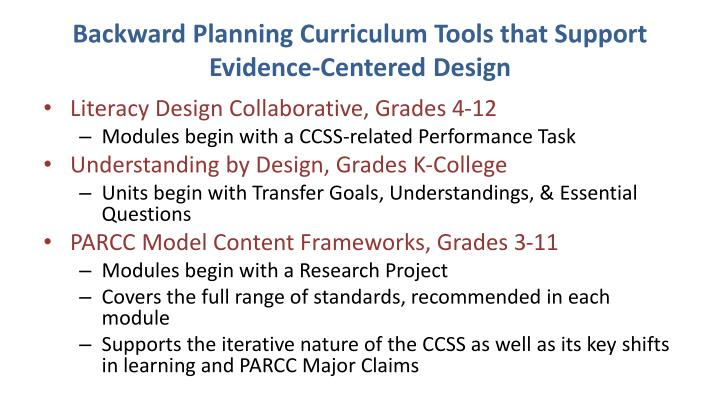 Backward Planning Curriculum Tools that Support Evidence-Centered Design