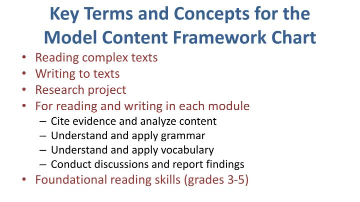 Key Terms and Concepts for the Model Content Framework Chart