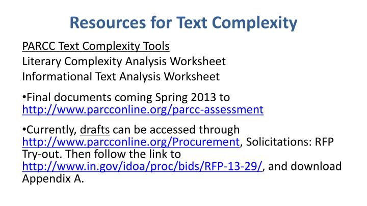 Resources for Text Complexity