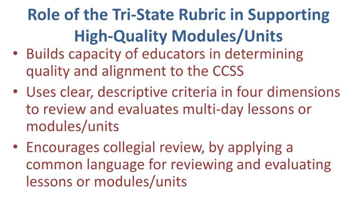 Role of the Tri-State Rubric in Supporting High-Quality Modules/Units