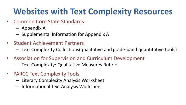 Websites with Text Complexity Resources