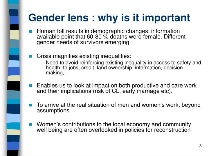 Gender lens : why is it important