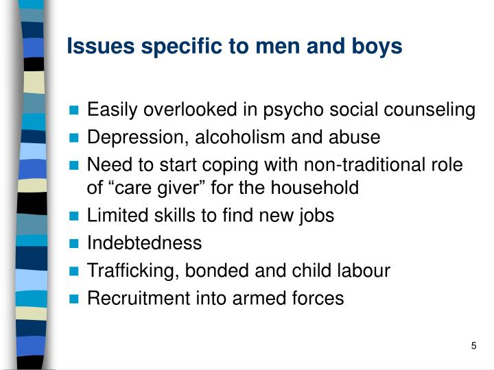 Issues specific to men and boys