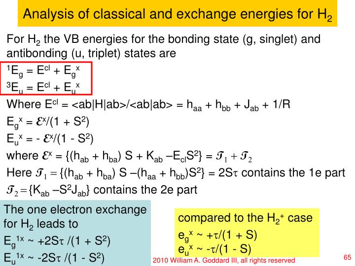 Analysis of classical and exchange energies for H