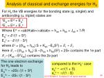 analysis of classical and exchange energies for h 2
