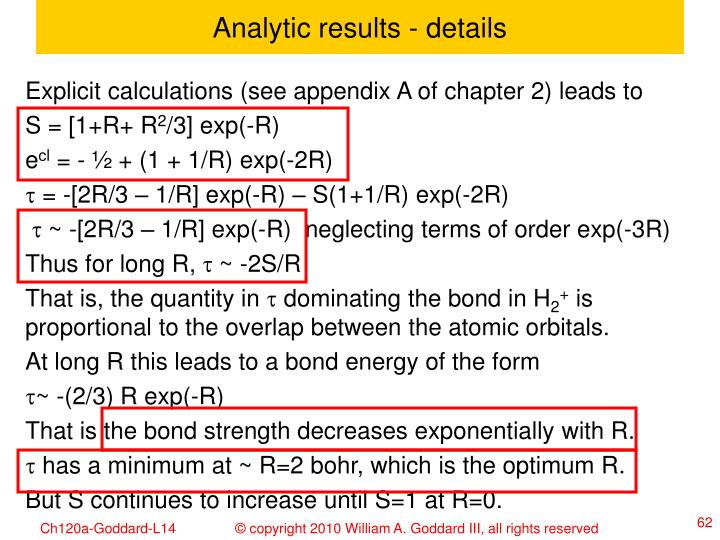 Analytic results - details