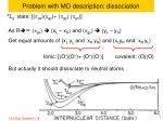 problem with mo description dissociation