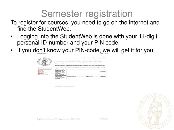 Semester registration