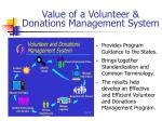value of a volunteer donations management system