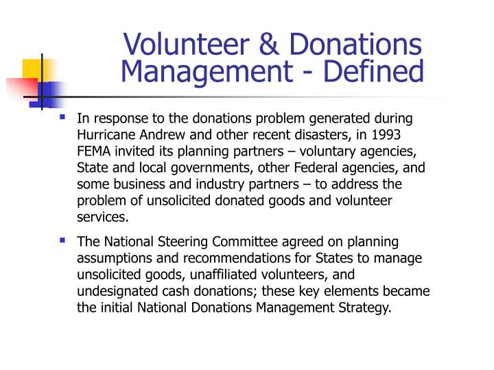 Volunteer & Donations Management - Defined