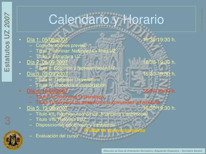Calendario y Horario