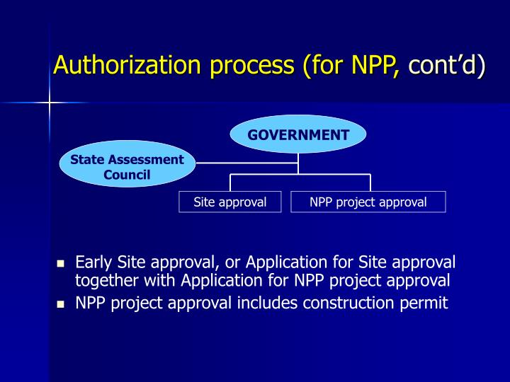 Authorization process (for NPP,