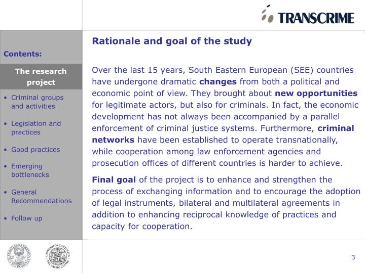 Rationale and goal of the study