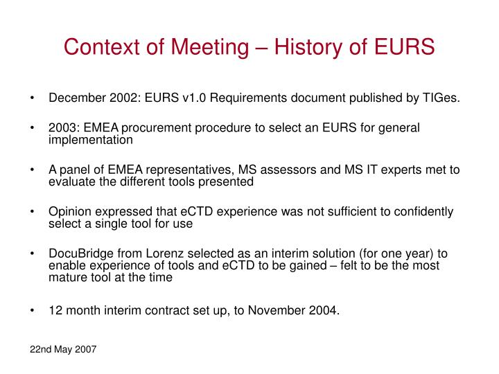 Context of Meeting – History of EURS