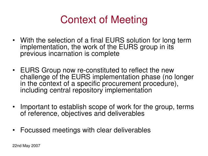 Context of Meeting