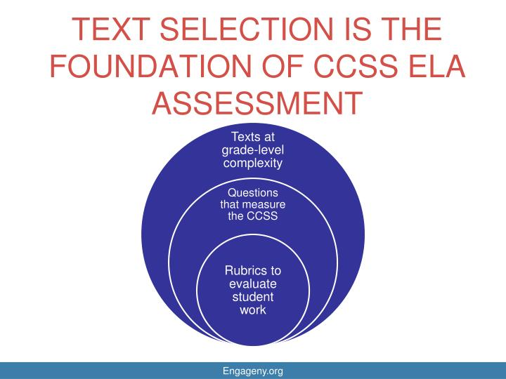 TEXT SELECTION IS THE FOUNDATION OF CCSS ELA ASSESSMENT