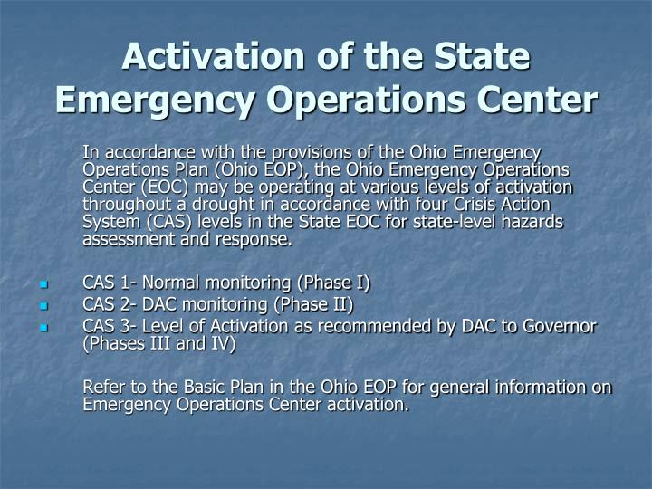 Activation of the State Emergency Operations Center