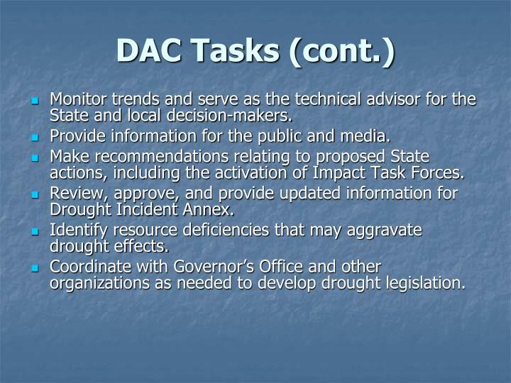 DAC Tasks (cont.)
