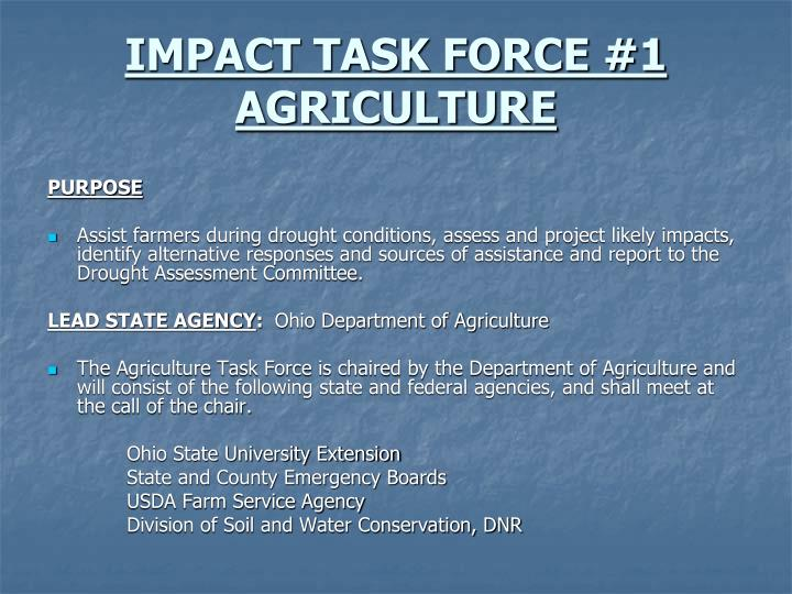 IMPACT TASK FORCE #1 AGRICULTURE