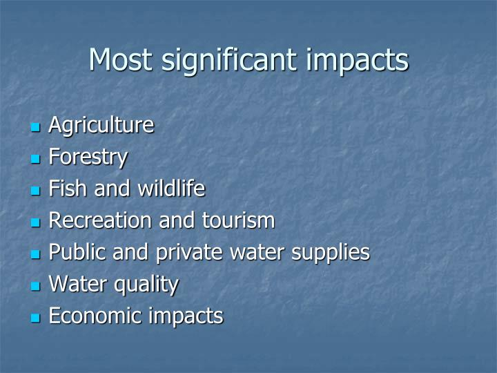 Most significant impacts