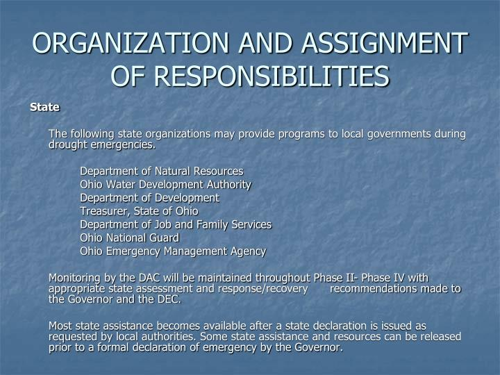 ORGANIZATION AND ASSIGNMENT OF RESPONSIBILITIES