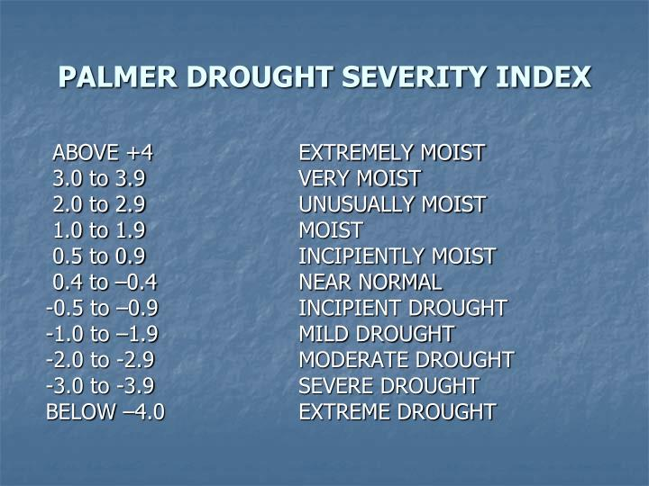 PALMER DROUGHT SEVERITY INDEX