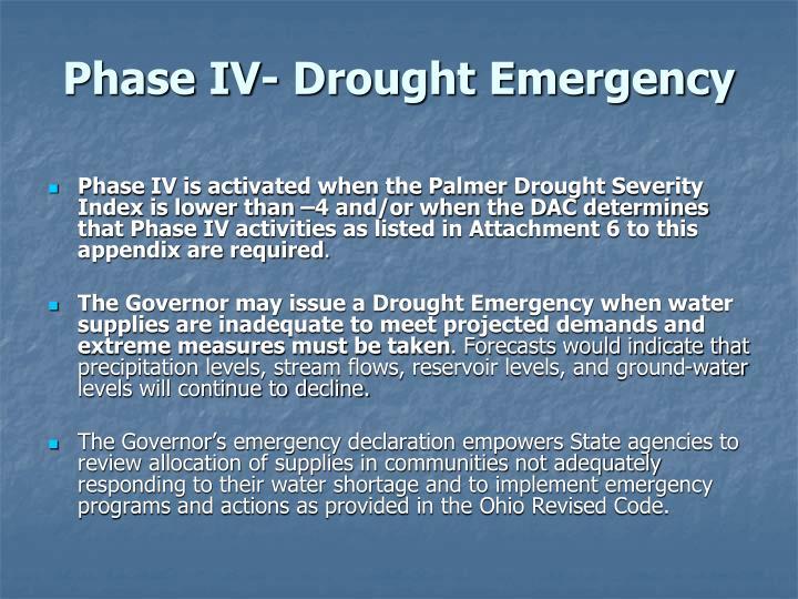 Phase IV- Drought Emergency