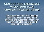 state of ohio emergency operations plan drought incident annex