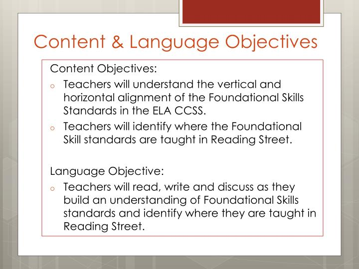 Content language objectives
