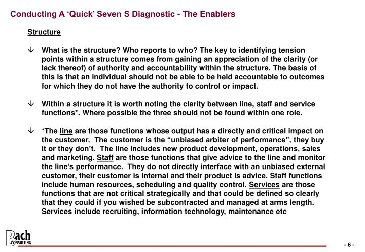 Conducting A 'Quick' Seven S Diagnostic - The Enablers