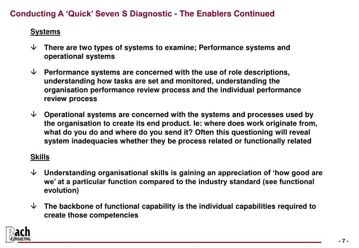 Conducting A 'Quick' Seven S Diagnostic - The Enablers Continued