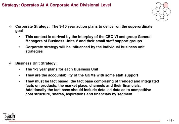 Strategy: Operates At A Corporate And Divisional Level