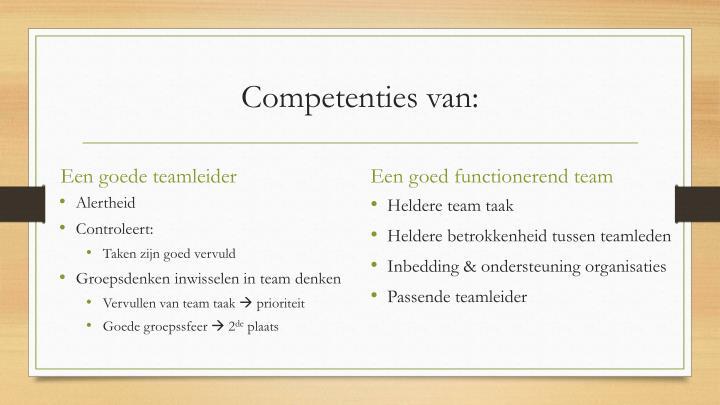 Competenties van: