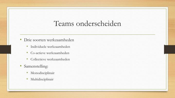 Teams onderscheiden