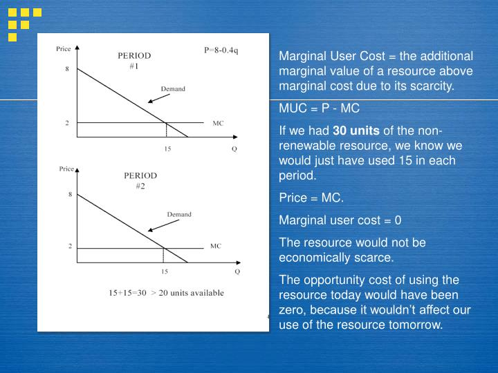 Marginal User Cost = the additional marginal value of a resource above marginal cost due to its scarcity.