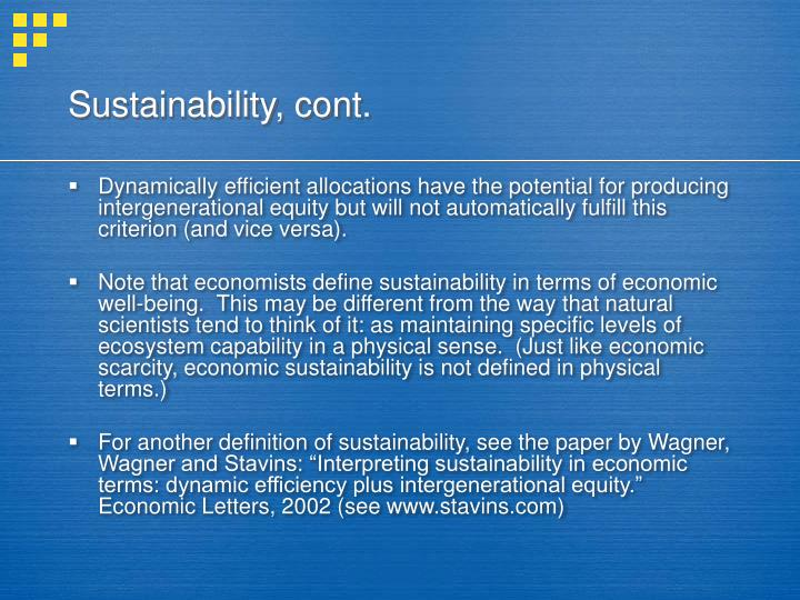 Sustainability, cont.