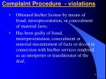 complaint procedure violations
