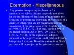 exemption miscellaneous