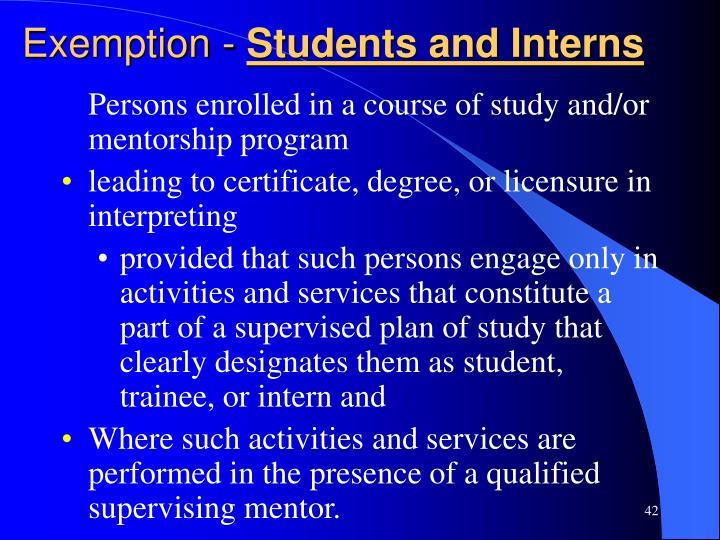Exemption -
