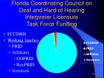 florida coordinating council on deaf and hard of hearing interpreter licensure task force funding